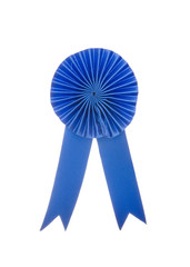Blue fabric award ribbon isolated on white background