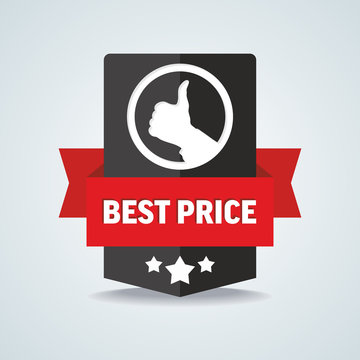 Best price badge with red ribbon. Vector illustration.