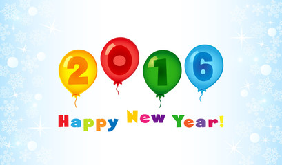 2016 new year card with funny color baloons. The logotype of 2016 with ingenious baloon numbers.