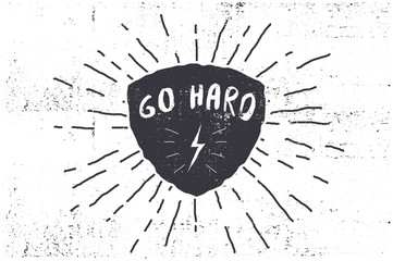 monochrome hipster vintage label-go hard.star burst.