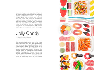 jelly candies on white background