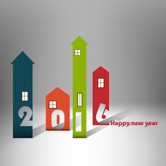 Housing background happy new year 2016 - Cover Calendar Design - Typography