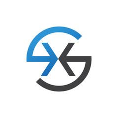 XS or SX letters, blue circle S logo shape