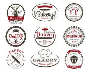 Set of bakery labels, bake badges and design elements, sweets