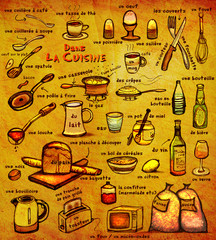 Dans La Cuisine: educational image for French learners