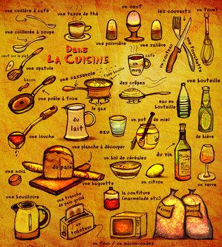Dans La Cuisine: educational image for French learners