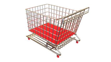 Shopping cart from perspective view in red colour no products on white background