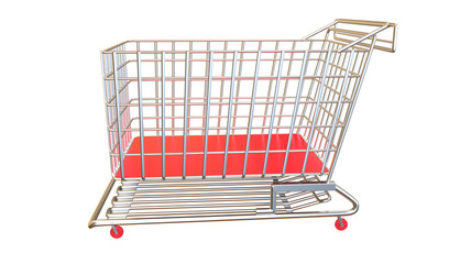 Shopping cart in red from side view completely empty