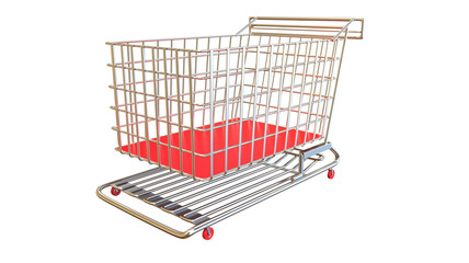 Shopping cart in red isolated on white background