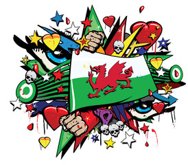 Wales Welsh Cymru flag jack graffiti pop art graff street art Cardiff rugby banner standard ensign banderole streamer colored drawing vector graf tag