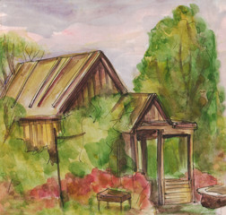 Summer house in the garden. Watercolor painting