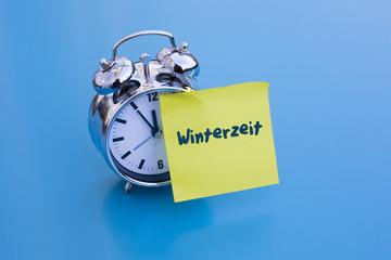 alarm clock with german 'Winterzeit' (winter time)