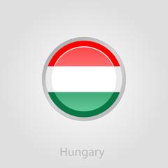 Hungary flag button, vector illustration
