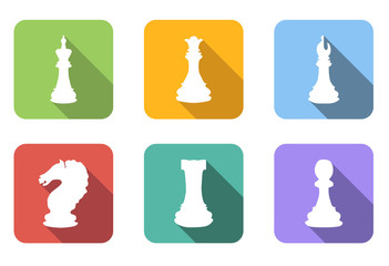 Chess flat icons set