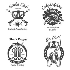 Scuba diving club labels set. Underwater swimming logos