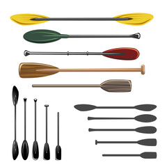 Paddles and oars vector icons