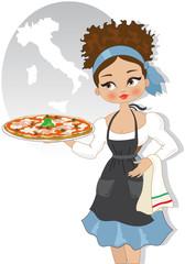 Ragazza con Pizza con Spazio per Testo