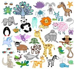 Childrens drawing doodle animals