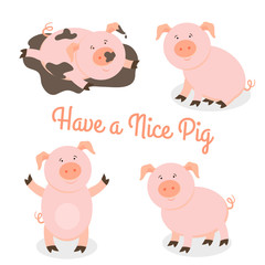 Cute happy cartoon pigs vector set