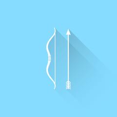 Bow and arrow vector icon.