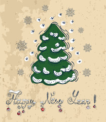 New year card with conifer and text