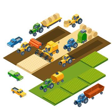 Isometric agricultural equipment, farm tractors, combain