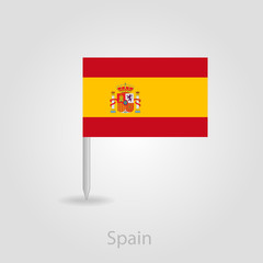 Spanish flag pin map icon, vector illustration