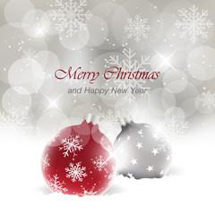 Merry Christmas and Happy New Year vector greeting card with light effect and baubles in the snow.