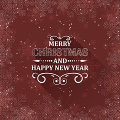 Christmas greeting card with snowflakes and ornate heading. Flat design.