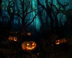 Хеллоуин. Сказочный ночной лес, светлячки. Тыквы на хеллоуин
