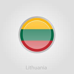 Lithuanian flag button, vector illustration