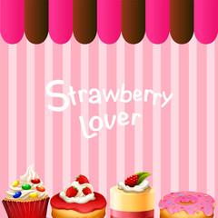 Different kind of dessert strawberry flavor
