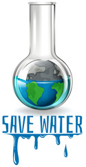 Save water theme with earth in flask