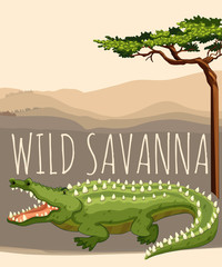 Wild savanna with tree and crocodile