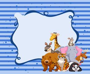 Borderdesign with wild animals