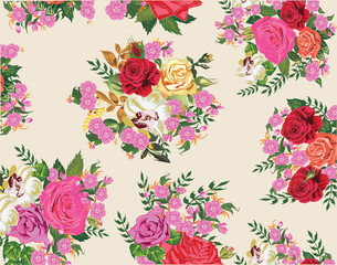 background with pink roses flowers