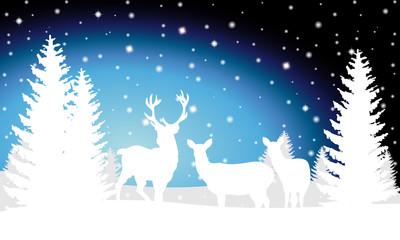 Weihnachtliche Landschaft mit Rentier (blau)