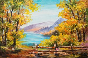 Foto op Aluminium Oranje Oil painting landscape - colorful autumn forest, mountain lake, impressionism