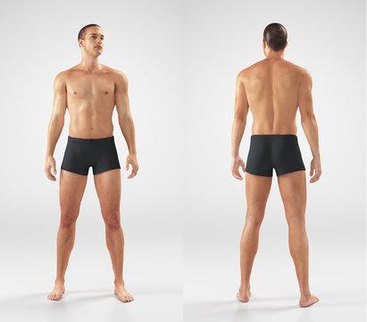 Uomo ragazzo con slip muscoli atletico