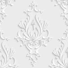 3d Floral Adamaszek Seamless Pattern