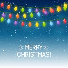 Christmas background with light bulbs