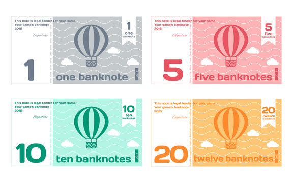 Vector Abstract Cute Color Banknote Templates Set
