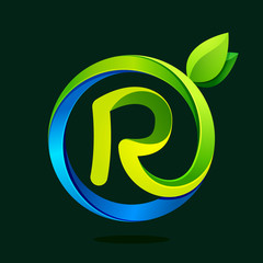 R letter with green leaves and water waves.