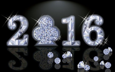 Happy 2016 New year diamond poker club, vector illustration