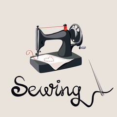 sewing, needle, lettering, sewing machine