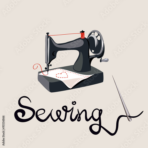 Sewing Needle Lettering Sewing Machine Stock Image And Royalty Simple Lettering Sewing Machine