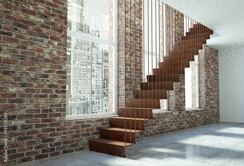 Scala in acciaio corten con finestre vista laterale - Finestre per scale ...