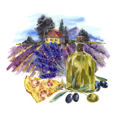 Watercolor landscape with bloominglavender, olive