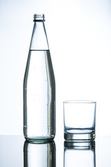 bottle of water and empty glass
