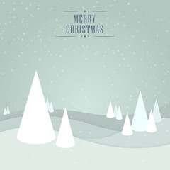Christmas vector light gray blue background with trees, snowflakes and wishes